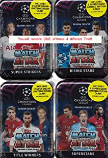 Match Attax 2018 2019 Topps UEFA Champions League Card Game MEGA Collectors Tin with 60 Cards Including a Limited Edition Super Squad Card and 15 Exclusive Insert Cards