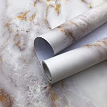 Matte Marble Paper, Marble White/Gold Thickened Kitchen countertop Contact Paper, Cabinet Furniture Bathroom Decoration Wa...