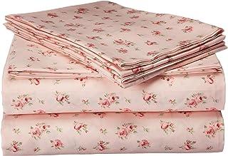 Amrapur Microfiber Sheet Set | Luxuriously Soft 100% Microfiber Rose Printed Bed Sheet Set with Deep Pocket Fitted Sheet, ...