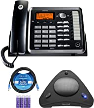 $111 » Motorola ML25254 DECT 6.0 Expandable Corded 2-line Business Phone with Caller ID & Answering Machine, Black Bundle with Bl...