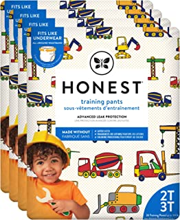 The Honest Company Toddler Training Pants, Construction Zone, 2T/3T, 104 Count, Eco-Friendly, Underwear-Like Fit, Stretchy...