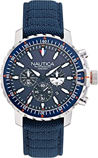 ساعت کوارتز ژاپنی فولادی ضد زنگ یخ شکن مردانه Nautica با بند نایلونی ، آبی ، 22 (مدل: NAPICS006)
