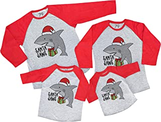 7 ate 9 Apparel Matching Family Christmas Shirts - Santa Shark Red Shirt
