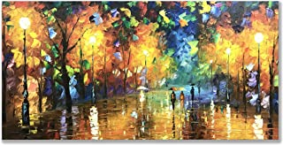 Alenoss 100% Hand-Painted 3D Oil Paintings Modern Canvas Large Wall Art 24x48 inch Abstract Contemporary Artwork Night Rainy Street Living Room Bedroom Dinning Room Wall Decor