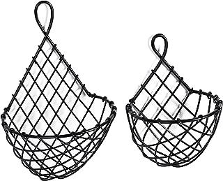 MyGift Wall-Mounted Black Metal Fruit Vegetable Baskets, Large & Small Hanging Produce Bins, Set of 2