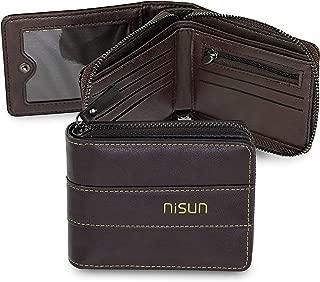 NISUN Imported 9 Slot Leather Credit/Debit Zipper Card Holder Money Bifold Wallet Zipper Coin Purse for Men & Women –Chocolate Brown