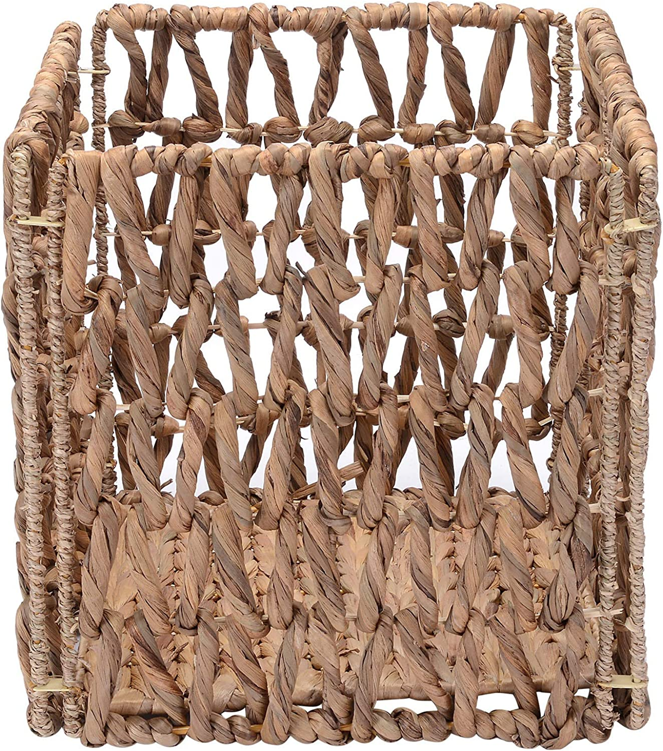 Villacera 12-Inch Square Hand-Woven Wicker Storage Bin, Foldable Baskets made of Water Hyacinth   Wire Frame   Set of 2