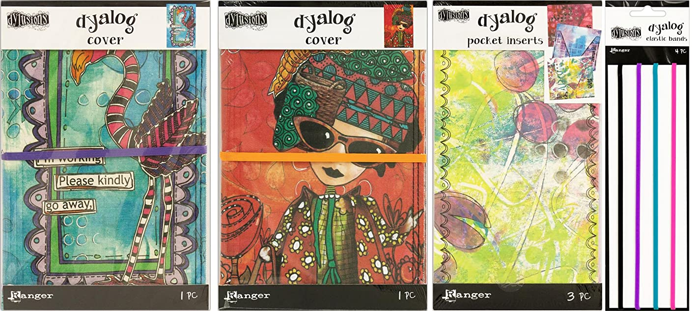Dyan Reaveley's Dylusions Dyalog Bundle - Two Covers, Pocket Inserts and Notebook Bands - 4 Items