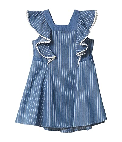 BCBG Girls Pinstriped Chambray Dress w/ Pom-Poms (Toddler/Little Kids) (Indigo Stripe) Girl