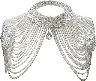Women Jewelery Sets, Wedding Bridal Silver Rhinestone Necklace Shoulder Chains Deco Bib Gift