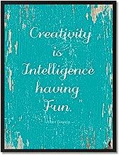 Creativity Is Intelligence Having Fun Albert Einstein Motivation Quote Saying Canvas Print Home Decor Wall Art Gift Ideas, Black Picture Frame, Aqua, 7