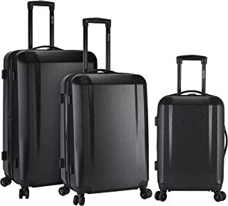 kensie 3 Piece Expandable Hardside Luggage Set with 8-Wheels Spinner System and EXTRA Packing Capacity, Black Color Option