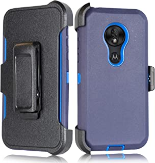 Fits T- Mobile Revvlry+ Plus, Motorola Moto G7/ G7 Plus Heavy Duty Defender Holster Armor Tough Case with Rotating Belt Clip & Built in Screen Protector Moto G7 (6.2