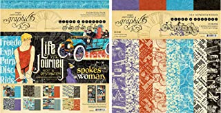 Graphic 45 Life's a Journey Collection Pack and Patterns & Solids Pad - 12x12 Decorative Papers - 2 Items