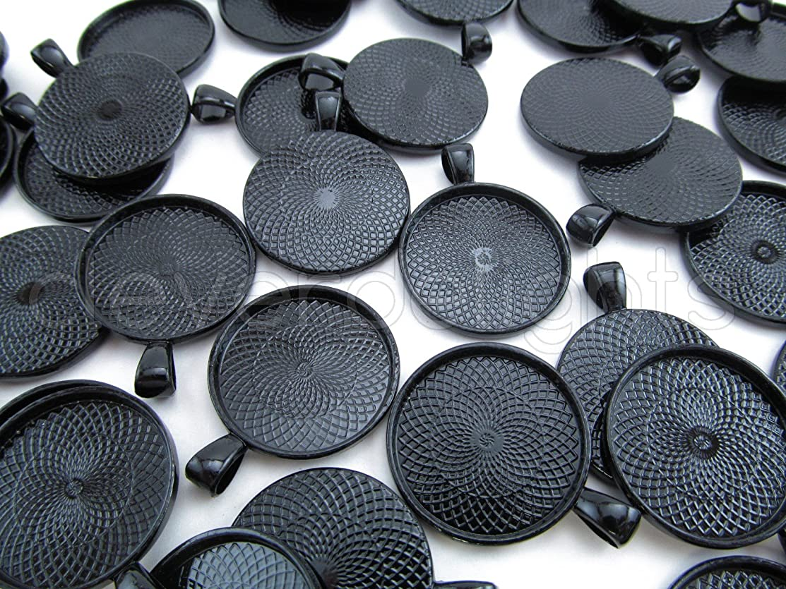 CleverDelights 20 Round Pendant Trays - Dark Black Color - 25mm 1
