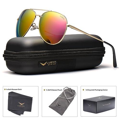 d1714188c7777 LUENX Aviator Sunglasses Polarized Men Women with Accessories Metal Frame  UV 400 60MM (Rose Red
