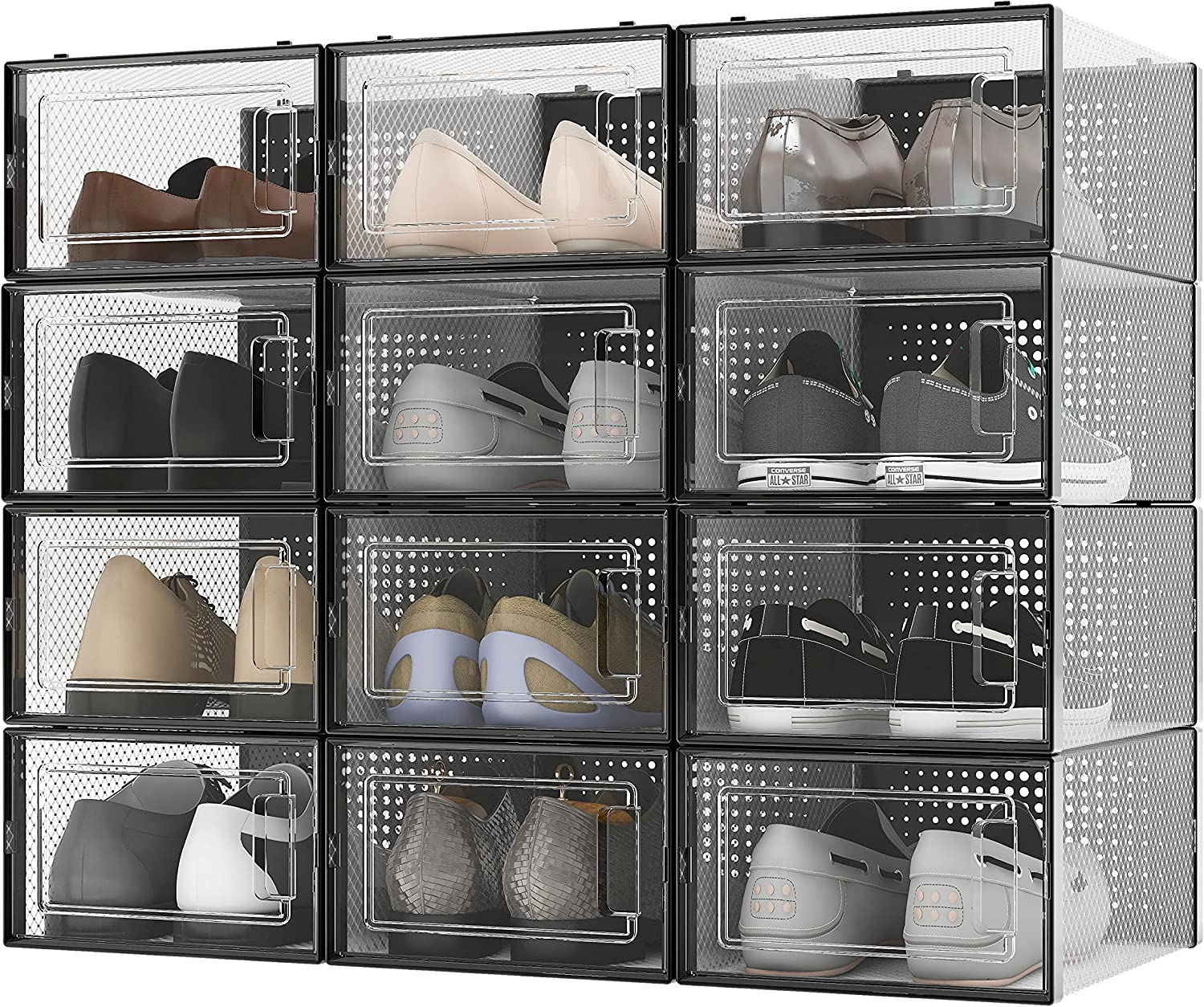 RISETEX Shoe Box Storage Containers 20 Pack,Drop Front Shoe Boxes Clear  Plastic Stackable with Lids,Shoe Containers,Foldable Shoe Storage Organizer  ...