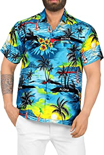 LA LEELA Men's Button Down Palm Tree Hawaiian Collared Holiday Shirt HD
