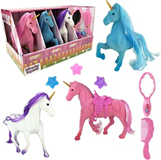 Liberty Imports Horse Stable Take-Along Toy Playset with Farm Tools and Accessories (Set of 3) (Unicorn)