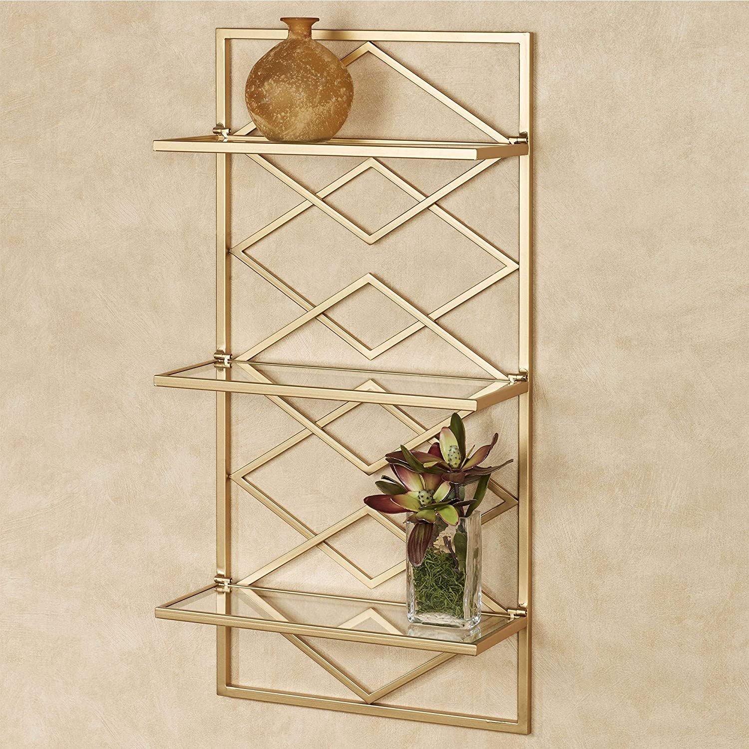 Touch of Class Diamond Challenge the lowest price of Japan Interlink Beveled Wall Metal Charlotte Mall Three Shelf
