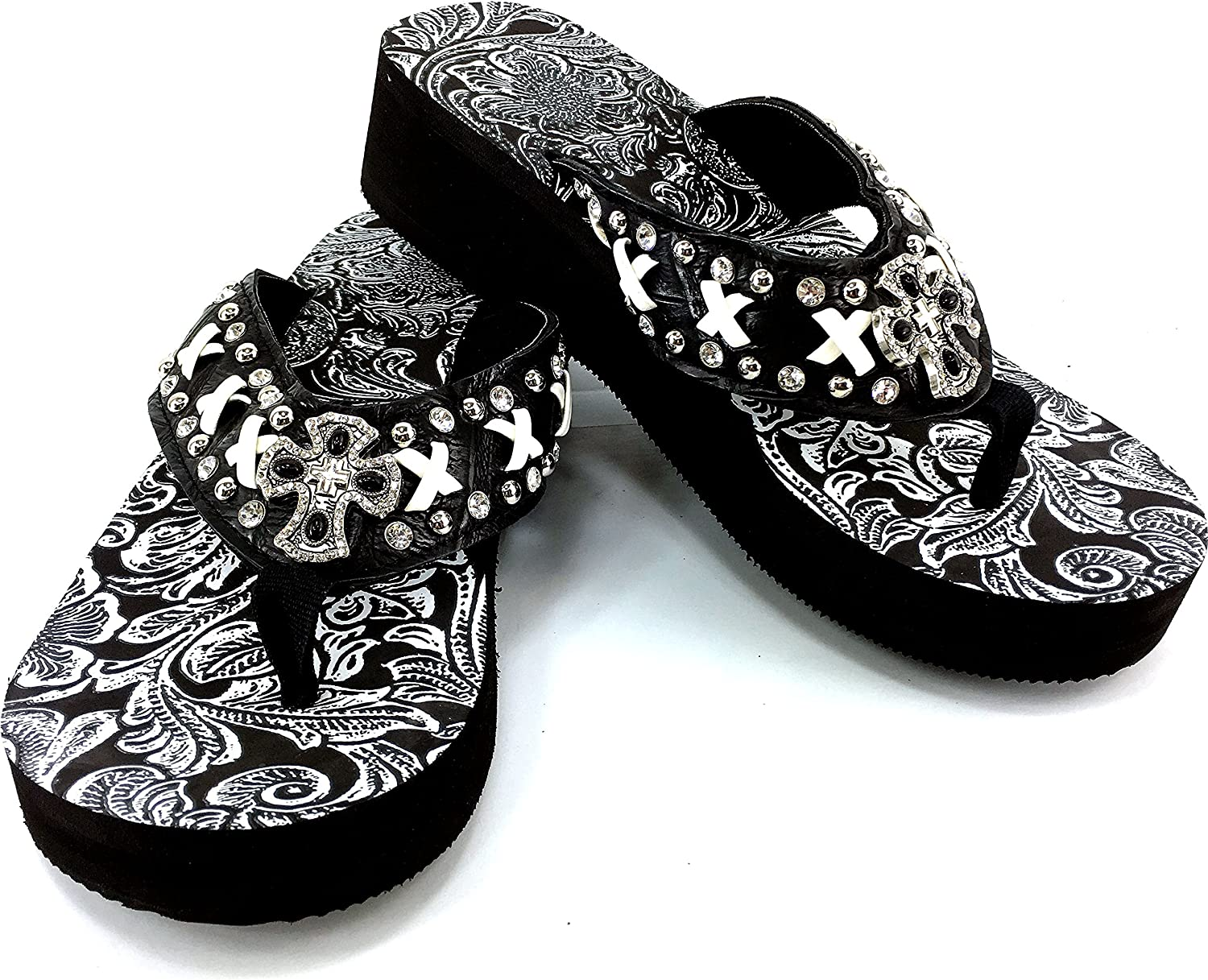 Western Peak Women's White Lace Full Rhinestones Cross Concho Diamond Black White Flip Flops Sandals