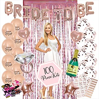 100PC Bachelorette Party Decorations Kit | Bridal Shower Decor Supplies | Rose Gold Paper Straws, Fringe Photo Booth Backd...