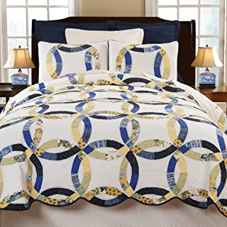C&F Home Provence Wedding Ring 2 Piece Quilt Set All-Season Reversible Bedspread Oversized Bedding Coverlet, Twin Size, Blue