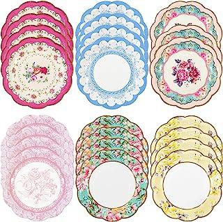 أطباق ورقية صغيرة من تاكينج تابلز مجموعة ترولي سكرامبشس، 6.75 طبق ورقي في 6 تصاميم لحفلات الشاي أو النزهات، متعددة الألوان...