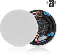 """Ceiling and Wall Mount Speaker - 8"""" 2-Way 70V Audio Stereo Sound Subwoofer Sound with Dome Tweeter, 600 Watts, in-Wall & in-Ceiling Flush Mount for Home Surround System - Pyle PDIC8LT (White)"""