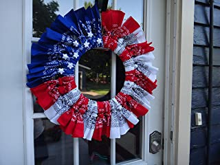 Patriotic Bandanna Flag Wreath with Stars