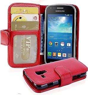 Cadorabo Funda Libro para Samsung Galaxy Trend Plus en Rojo Infierno – Cubierta Proteccíon con Cierre Magnético e 3 Tarjeteros – Etui Case Cover Carcasa