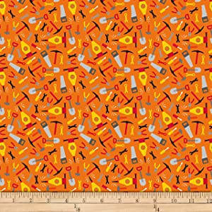 QT Fabrics Work In Progress Tools Fabric, Orange, Fabric By The Yard