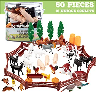 SCS Direct Farm Animal Toys Action Figures 50 Piece Toy Playset for Toddlers & Kids - 16 Unique Barnyard Animals and Accessories- Includes Cows, Horses, Chickens, Pigs and More, Ages 3+