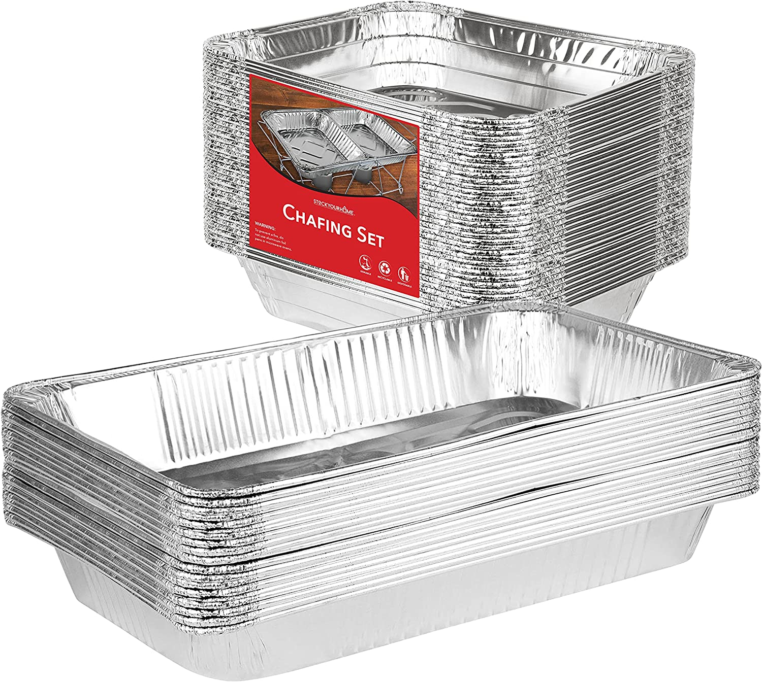 Stock Your Home Chafing Pan Set - 21 x 13 Full Size (5 Pack) - 9 x 13 Half Size (10 Pack) Rectangular Catering Dishes - Disposable Water Pans - Chafing Set for Catering, Buffets, Weddings, Parties