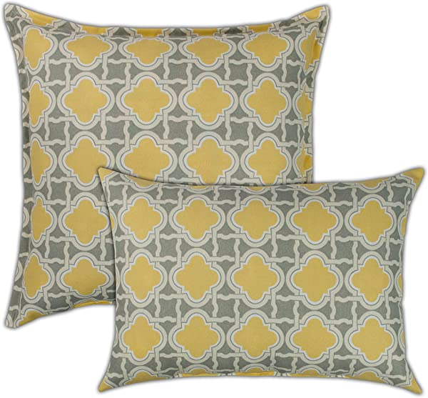 Sherry Kline Bandos Combo Outdoor Pillow Yellow Grey