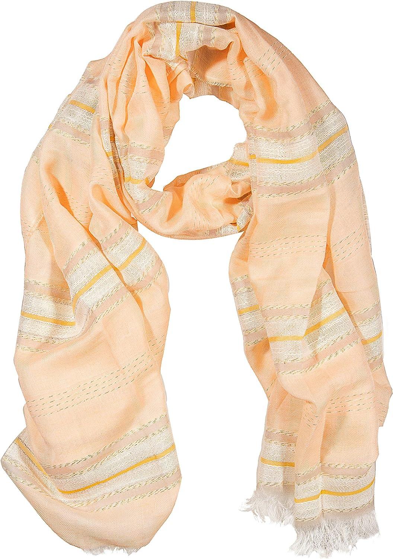 GIULIA BIONDI 100% made in Italy Cotton Scarf Shawl Wrap Lurex Lightweight Infinity Fashion Long Women