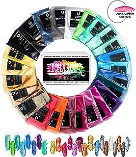Mica Powder Set - TECHAROOZ Epoxy Resin Color Pigment – 25 Colours [Huge 250g/8.82oz] 2 Tone Metallic Epoxy Resin Dye, Pigment Powder for Soap Making, Bath Bomb Colorant, Slime Supplies,Lip Gloss