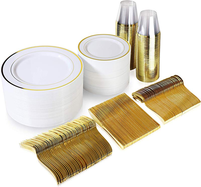 600 Piece Gold Dinnerware Set 200 White And Gold Plastic Plates Set Of 300 Gold Plastic Silverware 100 Gold Plastic Cups Disposable Gold Dinnerware Set For Party Or Wedding Up To 100 Guests
