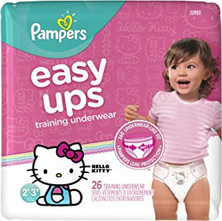 Pampers Easy Ups Training Pants Pull On Disposable Diapers for Girls Size 4 (2T-3T), 26 Count, JUMBO