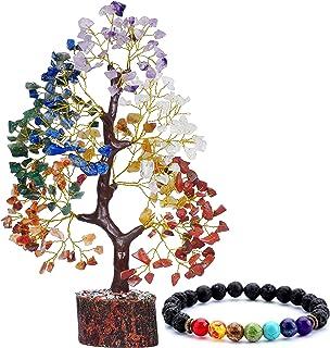 Reikved Seven Chakra Crystal Gemstone Bonsai Money Tree Golden Wire 300 Beads with Chakra Bracelet Figurine Home Decoratio...