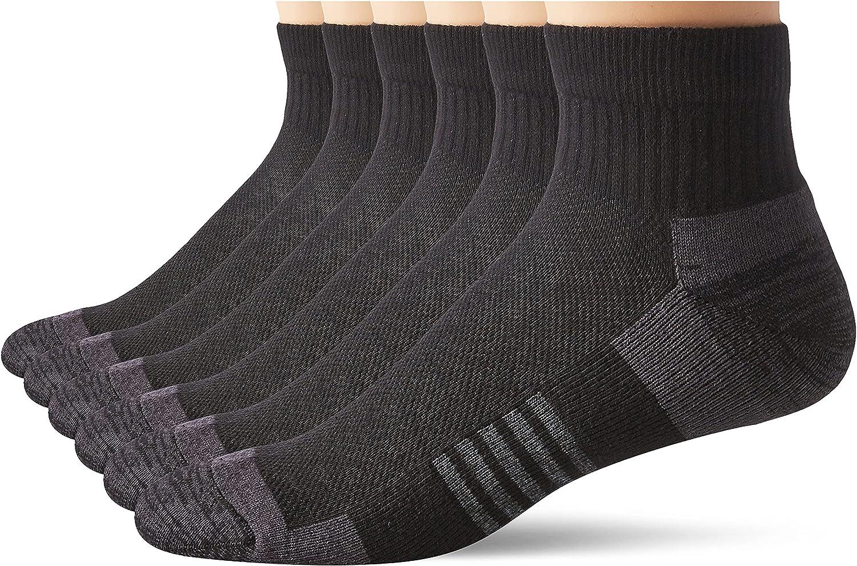Amazon Essentials Calcetines Deportivos Acolchados de algodón de Alto Rendimiento Hombre, Pack de 6
