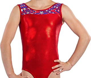 Girls Gymnastics Leotard USA Stars- Stripes Fabric and Unique Back Design by Lizatards Comes in Girls and Adult Sizes