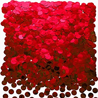 Red Foil Metallic Round Table Confetti Decor Circle Dots Mylar Table Scatter Confetti Wedding Bachelorette Valentines Mothers Day Baby Shower Birthday Party Confetti Decorations, 50g