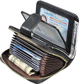 Beurlike Women's RFID Credit Card Holder Organizer Case Leather Security Wallet