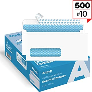 500#10 Single Left Window SELF Seal Security Envelopes - Super Strong Quick-Seal Self Sealing Closure, Security Tinted, Size 4-1/8 x 9-1/2 Inches, 24 LB - 500 Count (35210)