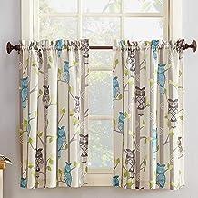 "No. 918 Hoot Owl Print Kitchen Curtain Tier Pair, 56"" x 36"", Mocha Brown"