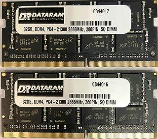 DATARAM 64GB (2 x 32GB) 2666MHz DDR4 PC4-21300 SO-DIMM 260 Pin Memory Upgrade for 2018 Mac Mini (macmini18,1), 2019 27 inch iMac (iMac19,1) and PC laptops