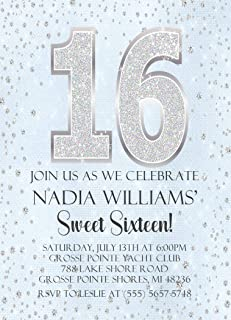 Light Blue & Silver Diamonds Sweet 16 Birthday Party Invitations With Envelopes, Light Blue Sweet 16 Invitations