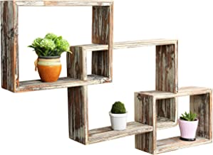 MyGift Wall-Mounted Country Rustic Brown Interlocking Shadow Box, Floating Box Display..