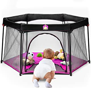 BABYSEATER Portable Playard Play Pen with Carrying Case for Infants and Babies, Pink